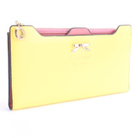 Yellow High Polish Bow Accent Wallet Clutch