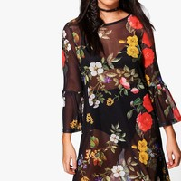Joslyn Mesh Dark Floral Frill Shift Dress | Boohoo