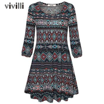 Geometric Print Knitted Vintage Dress Women A Line Midi Robe Casual 3/4 Lantern Sleeve Dress
