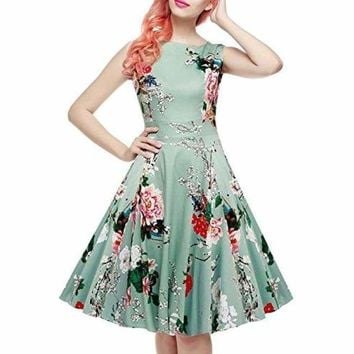 Vintage Tea Dress 1950's Floral Spring Garden Retro Swing Prom Party Cocktail Dress