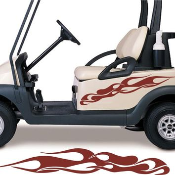 RED COLOR Golf Cart Go Cart Stickers Graphics Decals Tribal Flames Stripes GC107
