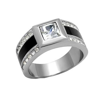 Fancy This - Men's Stainless Steel Black Ion Plated CZ Statement Ring
