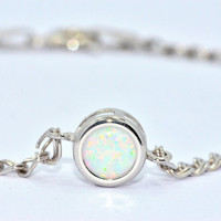1 Carat Opal Round Bezel Bracelet .925 Sterling Silver Rhodium Finish White Gold Quality