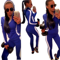 Blue Hooded Sweatshirt and Pants Sports Suit