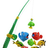 Rod and Reel Fishing Bath Toy Set for Kids with 8 Unique Fish