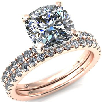 Sicili Cushion Moissanite 4 Prong Micro Pave Diamond Sides Engagement Ring