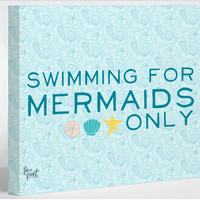 Swimming For Mermaids Only - Blue Canvas Wall Decor by Pen & Paint