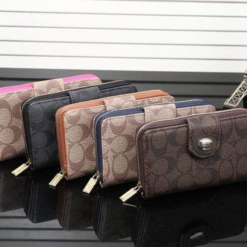 """Coach"" Fashion Classic Logo Print Double Layer Zip Purse Button Women Fold Wallet"