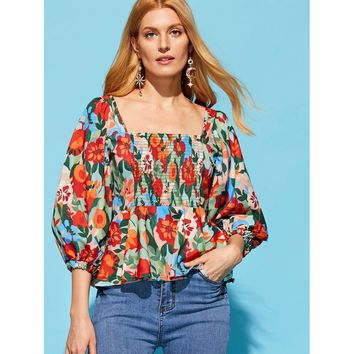 All Over Florals Peplum Blouse