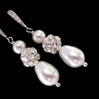 Bridal Pearl Earrings Wedding Earrings CZ Rhinestones Sparkling - Wedding Jewelry | Handmade