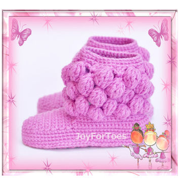 "Crochet Pattern JoyForToes ""Home Slippers BOBBLES"""