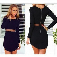 Hot Sale Stylish Long Sleeve See Through Sexy Slim Irregular Skirt One Piece Dress [6046528321]