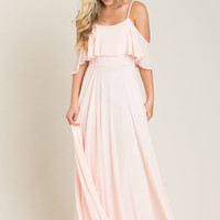 Adele Blush Ruffle Maxi Dress