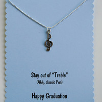 Pitch Perfect Graduation Card with Treble Clef Necklace