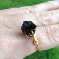 Ring black Swarovski crystal, cube, gold plated