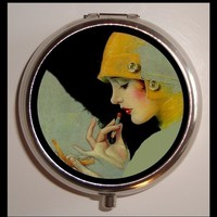 Flapper Lipstick Pill Case Pillbox Box Holder Classic  Sexy Pinup Art Deco Pin Up Glam Cosmetic Roaring 20's Jazz Age birth control case