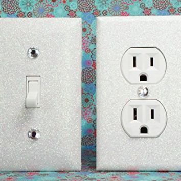 SET OF WHITE SNOW FROZEN Glitter Switch Plate & Outlet Cover, SET 0F 2! ALL Styles Available!