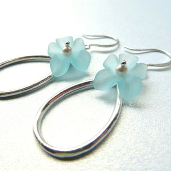 Silver Blue Flower Earrings Floral Silver Earrings Spring Jewelry Dangle Earrings Hoop