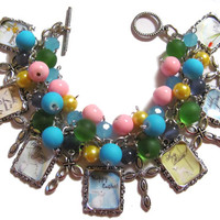Easter Altered Art Charm Bracelet Glass Beads Pink Yellow Handmade Fashion Jewelry
