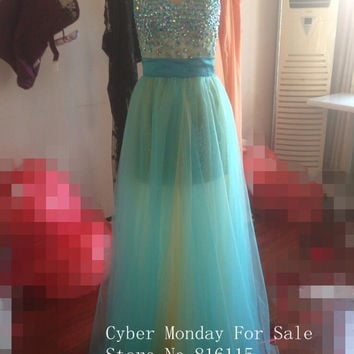 Real Factory Photos 2015 Sexy Sweetheart Heavy Beaded Detachable Skirt Two Pieces Tulle Mint Green Prom Dresses Women