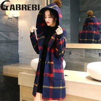 Autumn Winter Wool Coat,Women Classic Blends Red Yellow Plaid Long Jacket,Hooded Raincoat Outerwear Windbreaker Trench Coats