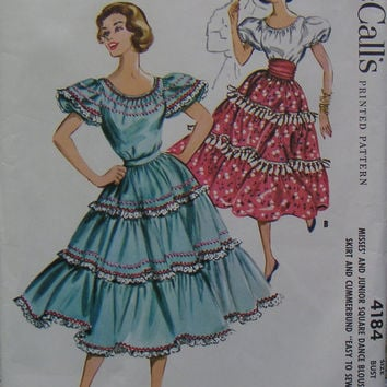 McCalls 4184, Blouse, Skirt and Cummerbund, size 14 (bust 34), vintage 1957 pattern