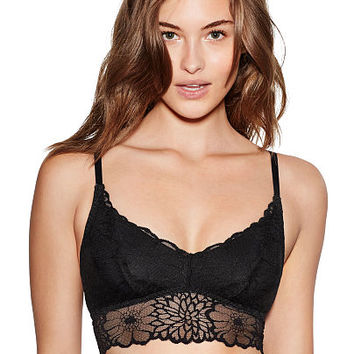 Unlined Floral Lace Bralette - PINK - Victoria's Secret