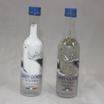 Glass Grey Goose Salt & Pepper Shakers, Upcycled Liquor Bottles