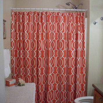 "Extra Wide Shower Curtain/ Extra long & Reg. length also! Custom Bath Geometric-72"",84"",90"",96"",108"",120""-Magnolia Home Fashions""Deco Poppy"""