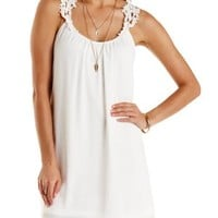 White Crochet Strap Chiffon Shift Dress by Charlotte Russe
