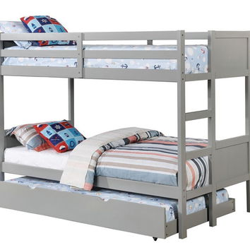 Annette collection gray finish wood twin over twin paneled headboards bunk bed set
