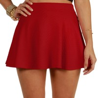 Sale-red Textured Skater Skirt