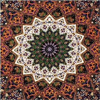 "85""x100""Indian Star Tapestry Fabric BEAUTIFUL Black White Purple Green & Gold, Great for Curtains Pillows Table Cloth Hippie Clothes"