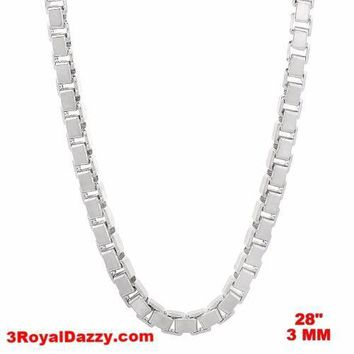"""Italy 14k white gold layered over Solid 925 sterling silver Box Chain - 3 mm 28"""""""