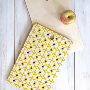 Heather Dutton Annika Diamond Citron Cutting Board Rectangle
