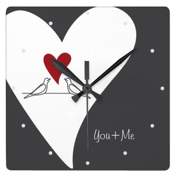 Cute White Doves in Love Personalized Wall Clocks: Name / Message Template: Valentine's Day or Wedding Gift Idea