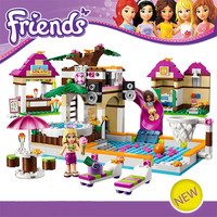 Building Blocks Set Compatible with lego Friends 442 Pcs  Figures DIY Swimming Pool Brinquedos Bricks Toys for Girls Bela 10160