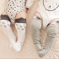 toddler Infant Girl Boy Socks Little Ears Cotton Socks Cartoon cloud/fox socks Anti-slip Knee High Kids Baby Socks