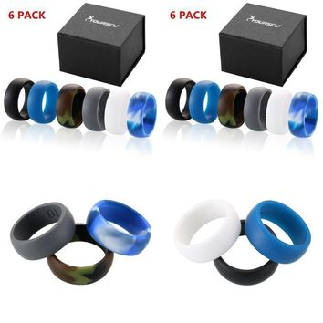 Silicone Wedding Ring Size 12 Mens Rubber Band 6 Pack Set Sports Outdoors Gift