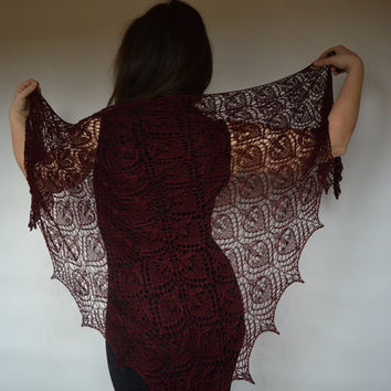 Burgundy lace shawl, steampunk dark crimson shawl, gothic lace wrap, victorian cover up, elegant luxury silk cover up, stylish evening wrap