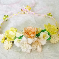 Flower headpiece Yellow Flower headband  /Flower headband /Flower headpiece /Flower head wreath