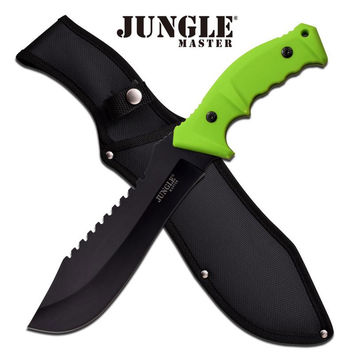 Jungle Master 15 Inches Machete With Rubberized Green Handle