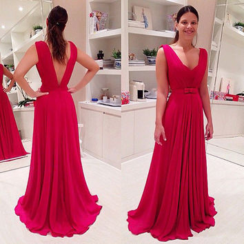 V-Back Sleeveless Red Long Prom Dresses