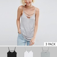 ASOS The Ultimate Cami With Caging Detail 3 Pack Save 20% at asos.com