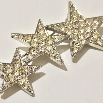 Vintage Three Star Brooch / Silver Tone Clear Rhinestone Star Pin / YSL Style Star Brooch Pin / Crystal Triple Star Brooch / Ascending Stars