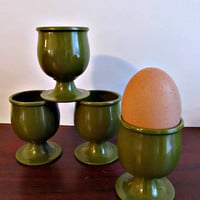 Vintage Green Melamine Egg Cups - Set of 4