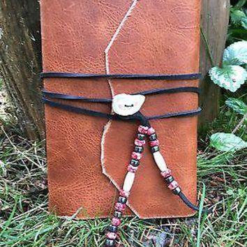 Medieval Distressed Leather Journal Antler Button & Beading SCA LARP Rendezvous