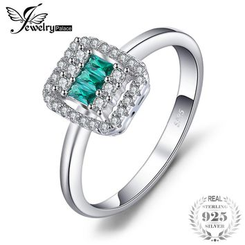 JewelryPalace Square Cut 0.2ct Nano Russian Simulated Emerald Statement Ring For Women 925 Sterling Silver Fashion Jewelry Gift