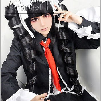 Free Hair Cap+For Adults For Kids Danganronpa Dangan-Ronpa Celestia Ludenberg Cosplay Wig Black Wigs Cosplay Convention Cosplay Event  Hair