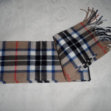 Vintage lambs wool plaid scarf - James Pringle vintage Scottish woolen scarf - winter woollies vintage plaid design